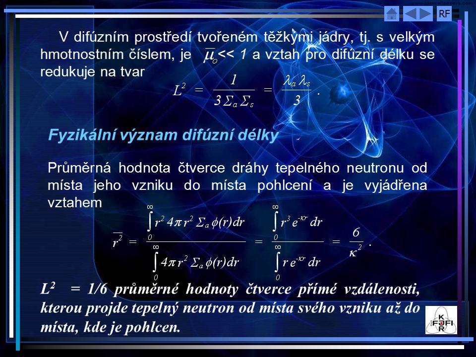 RF V difúzním prostředí tvořeném těžkými jádry, tj. s velkým hmotnostním číslem, je << 1 a vztah pro difúzní délku se redukuje na tvar Fyzikální význa