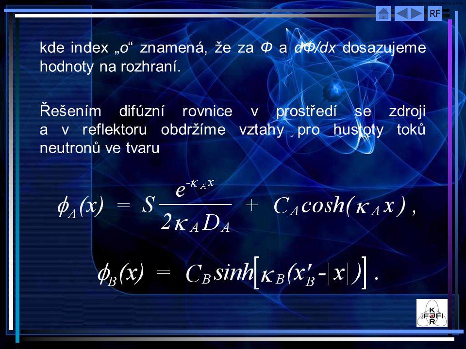 """RF kde index """"o"""" znamená, že za Ф a dФ/dx dosazujeme hodnoty na rozhraní. Řešením difúzní rovnice v prostředí se zdroji a v reflektoru obdržíme vztahy"""