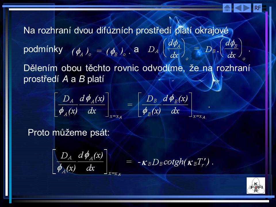 RF Na rozhraní dvou difúzních prostředí platí okrajové podmínky a. Dělením obou těchto rovnic odvodíme, že na rozhraní prostředí A a B platí Proto můž