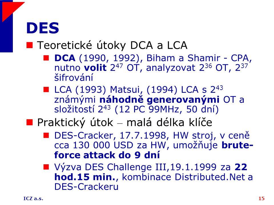 ICZ a.s.15 DES Teoretické útoky DCA a LCA DCA (1990, 1992), Biham a Shamir - CPA, nutno volit 2 47 OT, analyzovat 2 36 OT, 2 37 šifrování LCA (1993) Matsui, (1994) LCA s 2 43 známými náhodně generovanými OT a složitostí 2 43 (12 PC 99MHz, 50 dní) Praktický útok – malá délka klíče DES-Cracker, 17.7.1998, HW stroj, v ceně cca 130 000 USD za HW, umožňuje brute- force attack do 9 dní Výzva DES Challenge III,19.1.1999 za 22 hod.15 min., kombinace Distributed.Net a DES-Crackeru