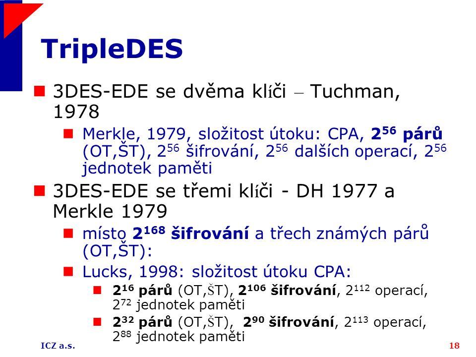 ICZ a.s.18 TripleDES 3DES-EDE se dvěma kl í či – Tuchman, 1978 Merkle, 1979, složitost útoku: CPA, 2 56 párů (OT,ŠT), 2 56 šifrování, 2 56 dalších operací, 2 56 jednotek paměti 3DES-EDE se třemi kl í či - DH 1977 a Merkle 1979 místo 2 168 šifrování a třech známých párů (OT,ŠT): Lucks, 1998: složitost útoku CPA: 2 16 párů (OT, Š T), 2 106 šifrování, 2 112 operací, 2 72 jednotek paměti 2 32 párů (OT, Š T), 2 90 šifrování, 2 113 operací, 2 88 jednotek paměti