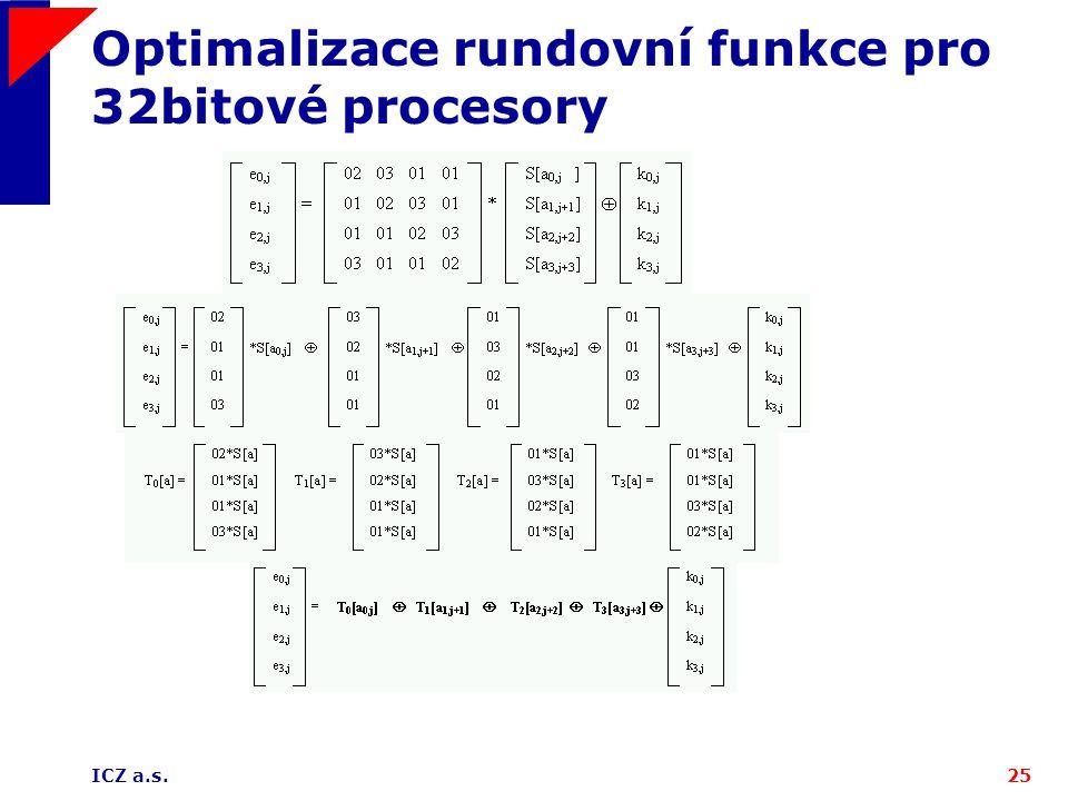 ICZ a.s.25 Optimalizace rundovní funkce pro 32bitové procesory