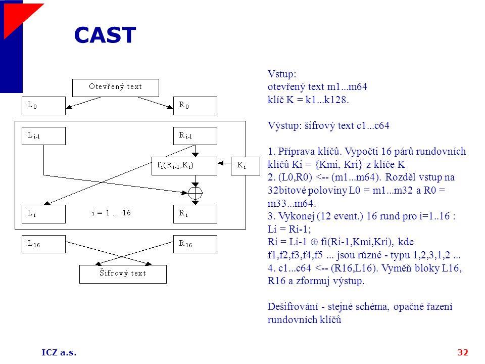 ICZ a.s.32 CAST Vstup: otevřený text m1...m64 klíč K = k1...k128. Výstup: šifrový text c1...c64 1. Příprava klíčů. Vypočti 16 párů rundovních klíčů Ki