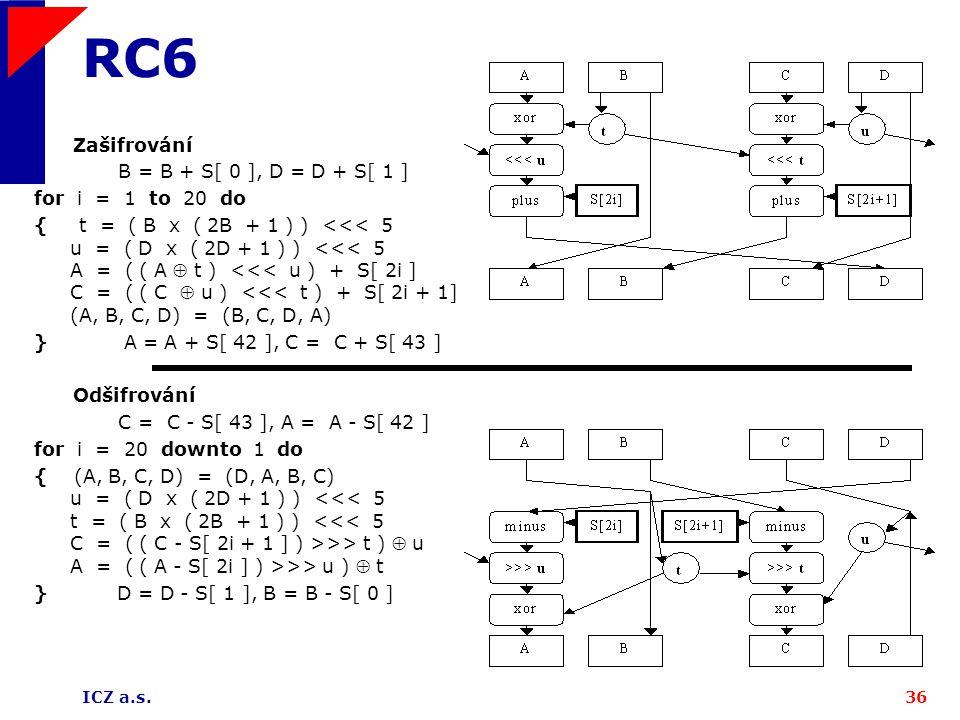 ICZ a.s.36 RC6 Zašifrování B = B + S[ 0 ], D = D + S[ 1 ] for i = 1 to 20 do { t = ( B x ( 2B + 1 ) ) <<< 5 u = ( D x ( 2D + 1 ) ) <<< 5 A = ( ( A  t ) <<< u ) + S[ 2i ] C = ( ( C  u ) <<< t ) + S[ 2i + 1] (A, B, C, D) = (B, C, D, A) } A = A + S[ 42 ], C = C + S[ 43 ] Odšifrování C = C - S[ 43 ], A = A - S[ 42 ] for i = 20 downto 1 do { (A, B, C, D) = (D, A, B, C) u = ( D x ( 2D + 1 ) ) >> t )  u A = ( ( A - S[ 2i ] ) >>> u )  t } D = D - S[ 1 ], B = B - S[ 0 ]