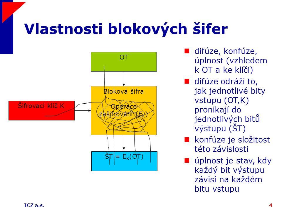 ICZ a.s.4 Vlastnosti blokových šifer OT Šifrovací klíč K Bloková šifra Operace zašifrování (E K ) ŠT = E K (OT) difúze, konfúze, úplnost (vzhledem k OT a ke klíči) difúze odráží to, jak jednotlivé bity vstupu (OT,K) pronikají do jednotlivých bitů výstupu (ŠT) konfúze je složitost této závislosti úplnost je stav, kdy každý bit výstupu závisí na každém bitu vstupu