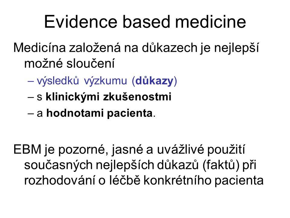 Evidence based medicine Medicína založená na důkazech je nejlepší možné sloučení –výsledků výzkumu (důkazy) –s klinickými zkušenostmi –a hodnotami pac