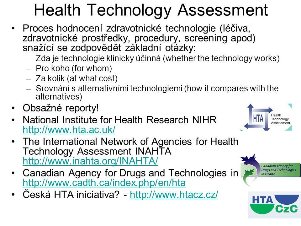 Health Technology Assessment Proces hodnocení zdravotnické technologie (léčiva, zdravotnické prostředky, procedury, screening apod) snažící se zodpově