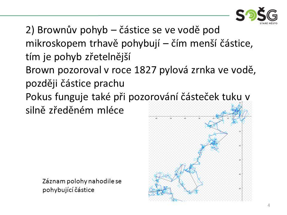 4 2) Brownův pohyb – částice se ve vodě pod mikroskopem trhavě pohybují – čím menší částice, tím je pohyb zřetelnější Brown pozoroval v roce 1827 pylová zrnka ve vodě, později částice prachu Pokus funguje také při pozorování částeček tuku v silně zředěném mléce Záznam polohy nahodile se pohybující částice