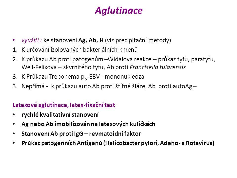 Aglutinace využití : ke stanovení Ag, Ab, H (viz precipitační metody) 1.K určování izolovaných bakteriálních kmenů 2.K průkazu Ab proti patogenům –Wid