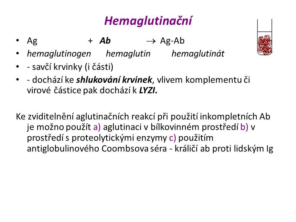 Hemaglutinační Ag + Ab  Ag-Ab hemaglutinogen hemaglutin hemaglutinát - savčí krvinky (i části) - dochází ke shlukování krvinek, vlivem komplementu či