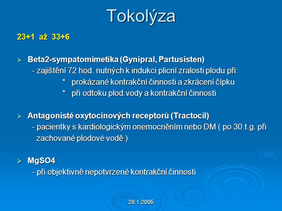 28.1.2005 Tokolýza 23+1 až 33+6  Beta2-sympatomimetika (Gynipral, Partusisten) - zajištění 72 hod. nutných k indukci plicní zralosti plodu při: - zaj