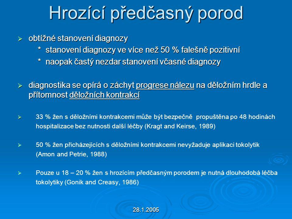 28.1.2005 Hrozící předčasný porod  obtížné stanovení diagnozy * stanovení diagnozy ve více než 50 % falešně pozitivní * stanovení diagnozy ve více ne