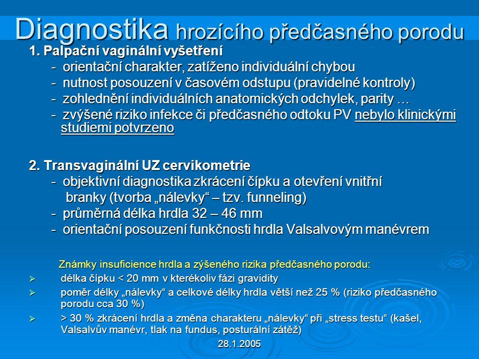 28.1.2005 Diagnostika hrozícího předčasného porodu 1. Palpační vaginální vyšetření - orientační charakter, zatíženo individuální chybou - orientační c