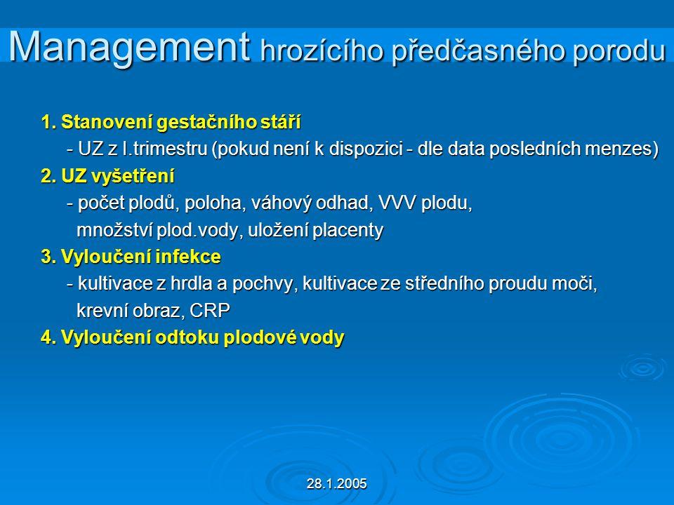 28.1.2005 Management hrozícího předčasného porodu 1. Stanovení gestačního stáří - UZ z I.trimestru (pokud není k dispozici - dle data posledních menze