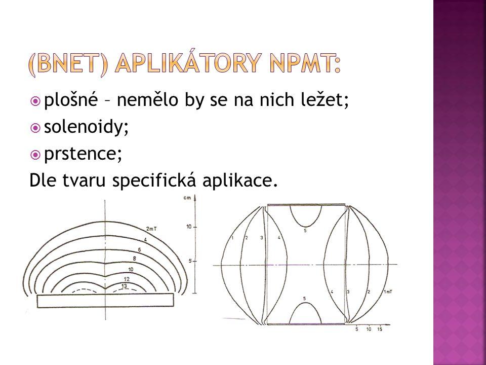  plošné – nemělo by se na nich ležet;  solenoidy;  prstence; Dle tvaru specifická aplikace.