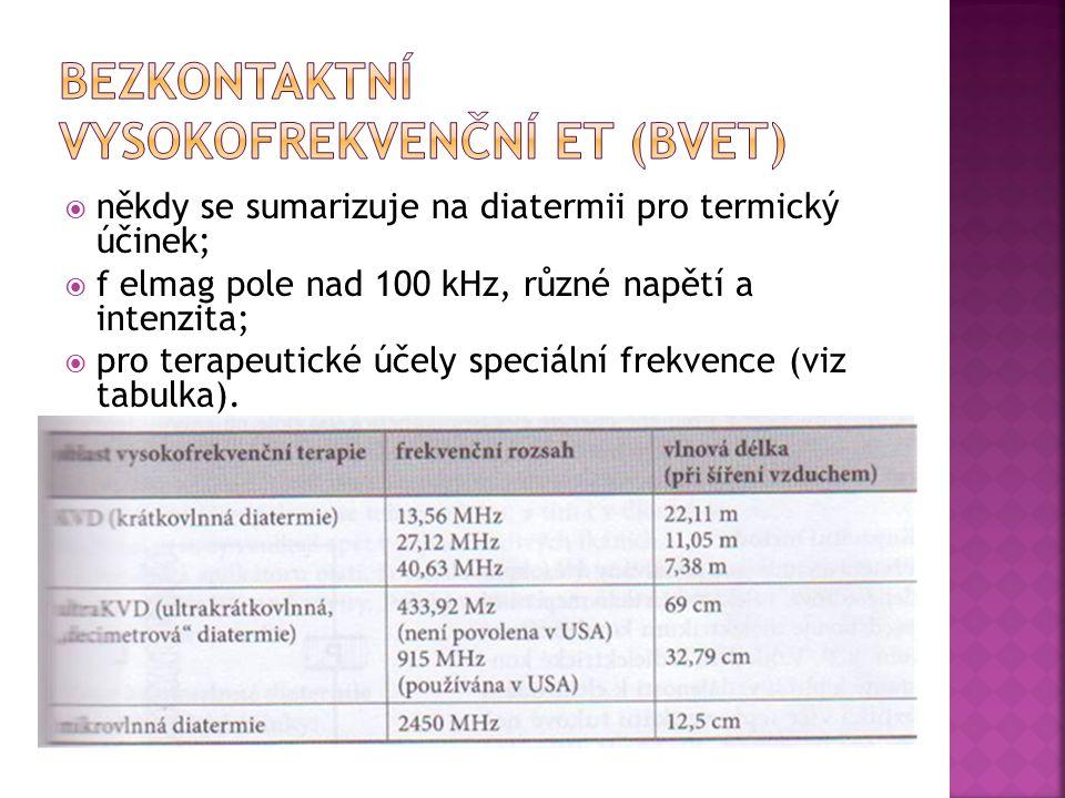  někdy se sumarizuje na diatermii pro termický účinek;  f elmag pole nad 100 kHz, různé napětí a intenzita;  pro terapeutické účely speciální frekv