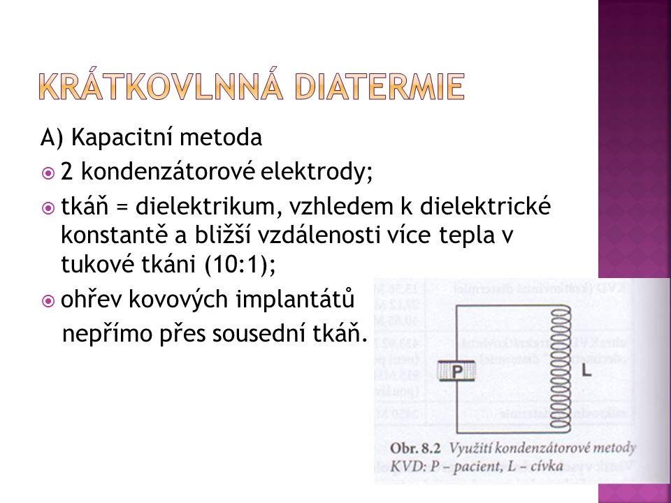 A) Kapacitní metoda  2 kondenzátorové elektrody;  tkáň = dielektrikum, vzhledem k dielektrické konstantě a bližší vzdálenosti více tepla v tukové tk
