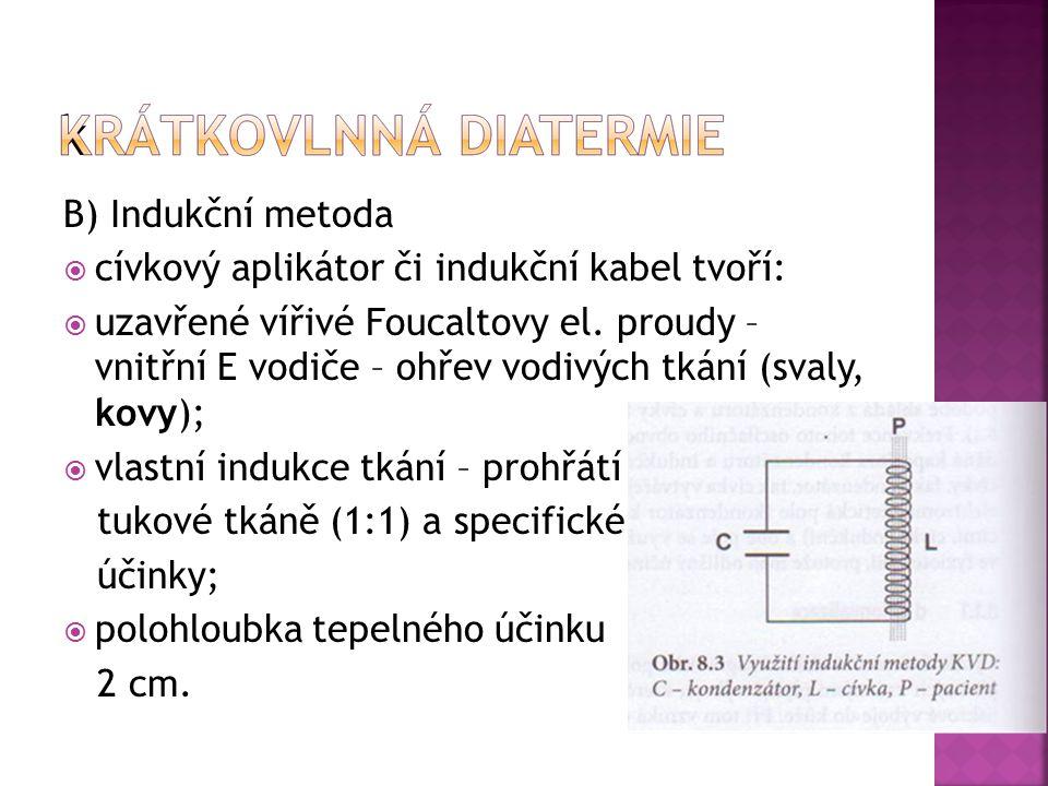 B) Indukční metoda  cívkový aplikátor či indukční kabel tvoří:  uzavřené vířivé Foucaltovy el. proudy – vnitřní E vodiče – ohřev vodivých tkání (sva