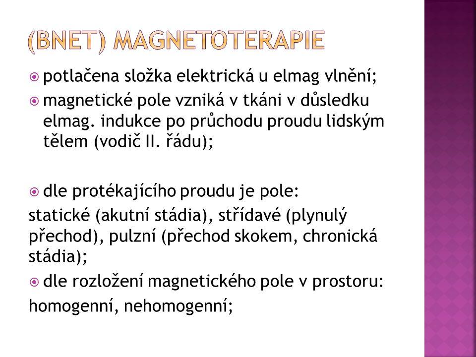  potlačena složka elektrická u elmag vlnění;  magnetické pole vzniká v tkáni v důsledku elmag. indukce po průchodu proudu lidským tělem (vodič II. ř