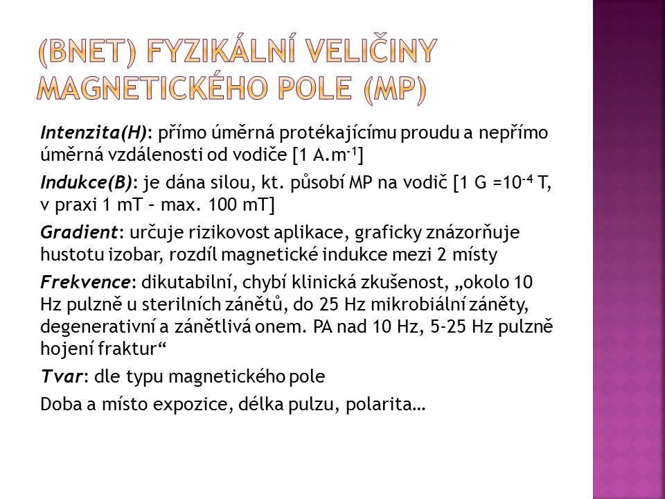 Intenzita(H): přímo úměrná protékajícímu proudu a nepřímo úměrná vzdálenosti od vodiče [1 A.m -1 ] Indukce(B): je dána silou, kt. působí MP na vodič [