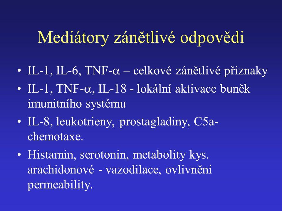 Mediátory zánětlivé odpovědi IL-1, IL-6, TNF-  celkové zánětlivé příznaky IL-1, TNF- , IL-18 - lokální aktivace buněk imunitního systému IL-8, le