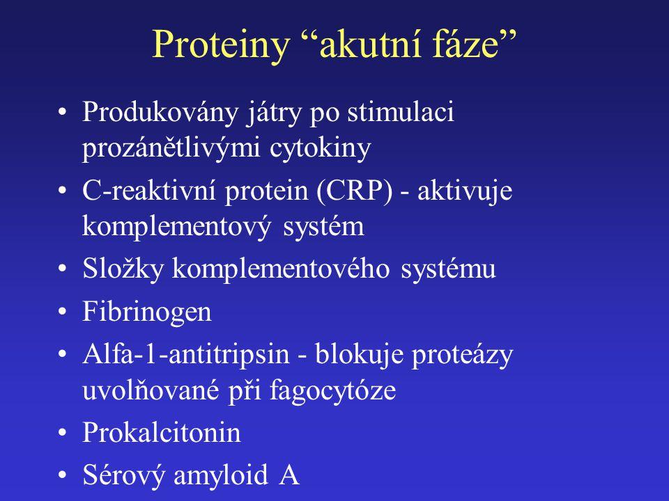 """Proteiny """"akutní fáze"""" Produkovány játry po stimulaci prozánětlivými cytokiny C-reaktivní protein (CRP) - aktivuje komplementový systém Složky komplem"""