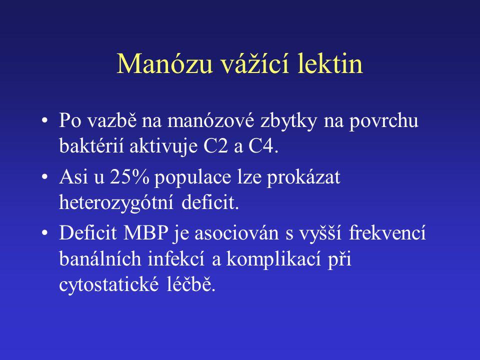 Manózu vážící lektin Po vazbě na manózové zbytky na povrchu baktérií aktivuje C2 a C4. Asi u 25% populace lze prokázat heterozygótní deficit. Deficit