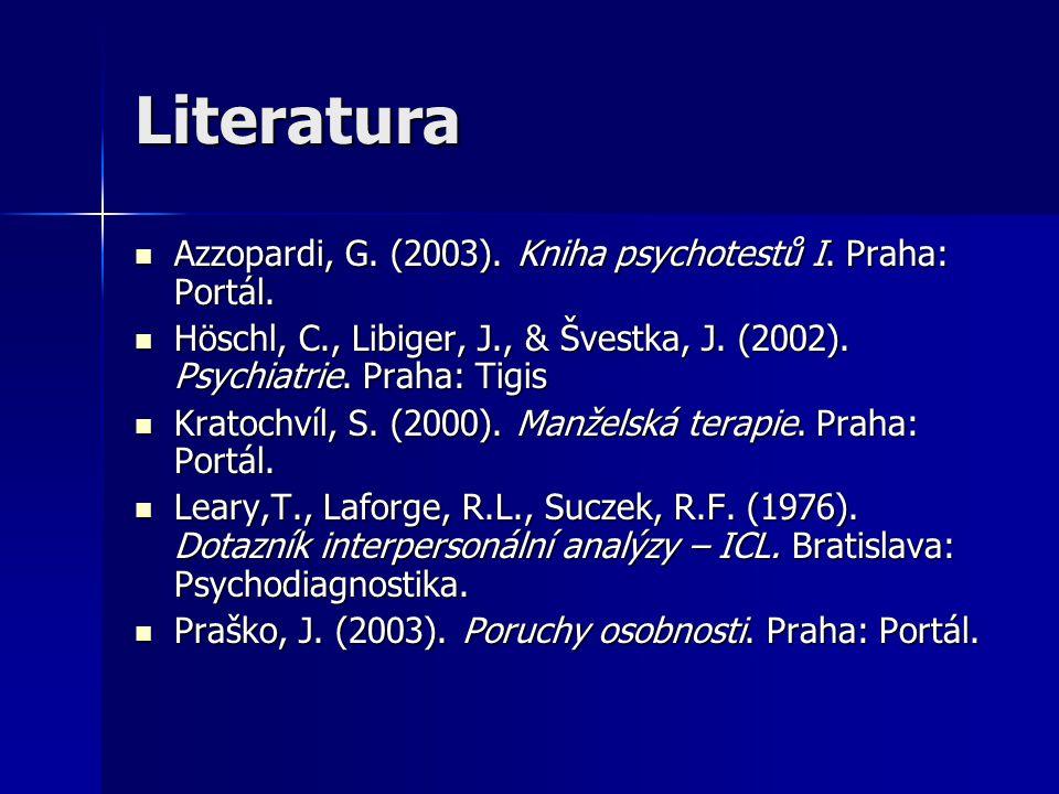 Literatura Azzopardi, G. (2003). Kniha psychotestů I. Praha: Portál. Azzopardi, G. (2003). Kniha psychotestů I. Praha: Portál. Höschl, C., Libiger, J.