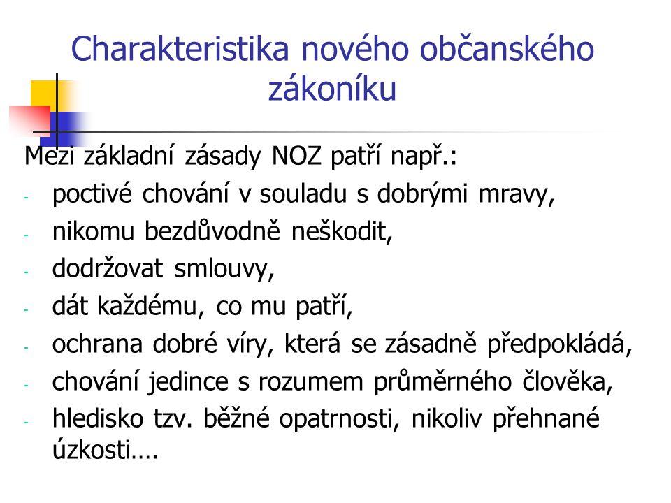 Charakteristika nového občanského zákoníku Mezi základní zásady NOZ patří např.: - poctivé chování v souladu s dobrými mravy, - nikomu bezdůvodně nešk