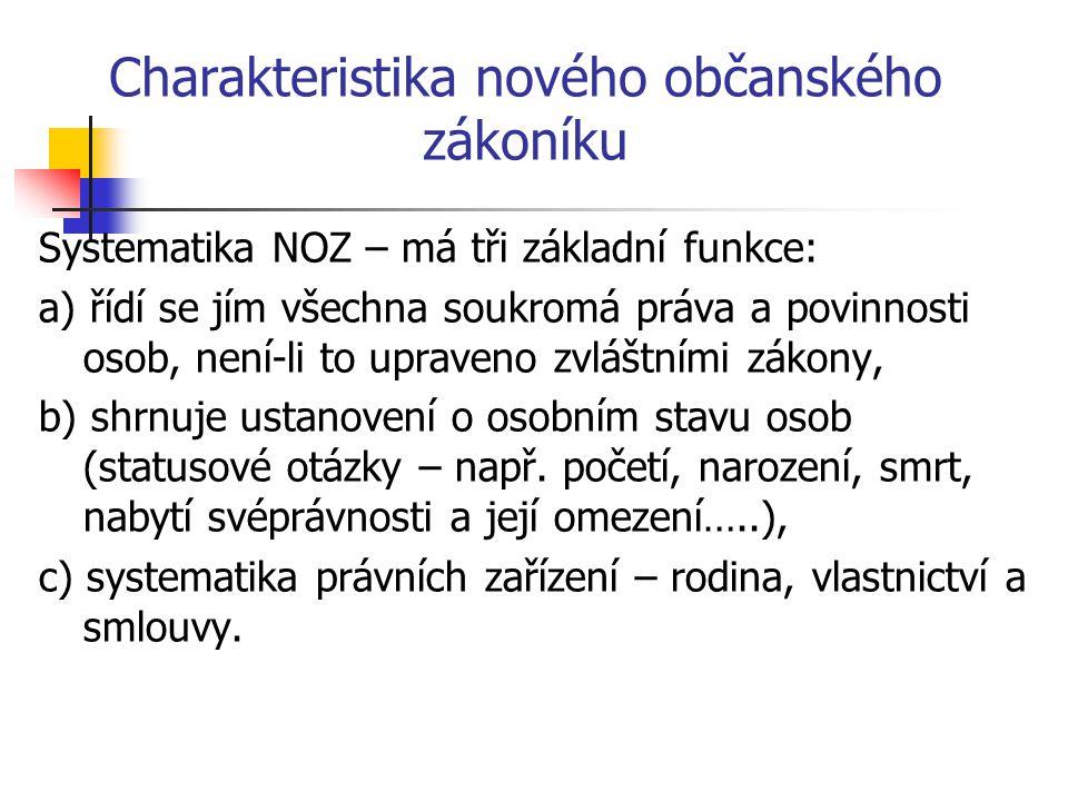 Charakteristika nového občanského zákoníku Systematika NOZ – má tři základní funkce: a) řídí se jím všechna soukromá práva a povinnosti osob, není-li