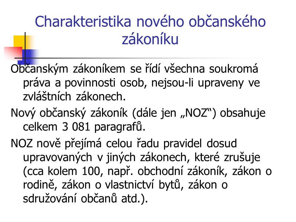Charakteristika nového občanského zákoníku Dalším, neméně významným záměrem je odklon od judikatury.