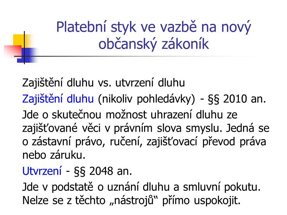 Platební styk ve vazbě na nový občanský zákoník Zajištění dluhu vs. utvrzení dluhu Zajištění dluhu (nikoliv pohledávky) - §§ 2010 an. Jde o skutečnou