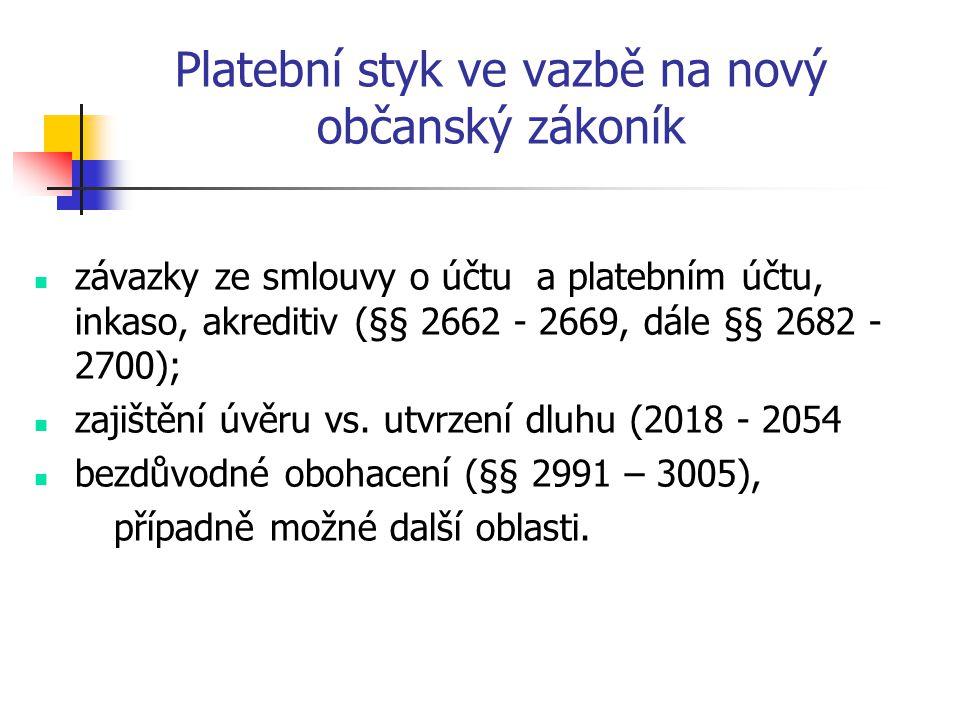 Platební styk ve vazbě na nový občanský zákoník závazky ze smlouvy o účtu a platebním účtu, inkaso, akreditiv (§§ 2662 - 2669, dále §§ 2682 - 2700); zajištění úvěru vs.