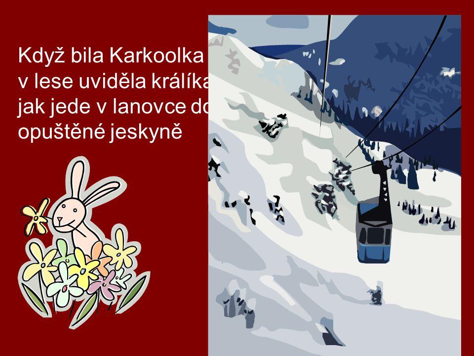 Když bila Karkoolka v v lese uviděla králíka jak jede v lanovce do opuštěné jeskyně