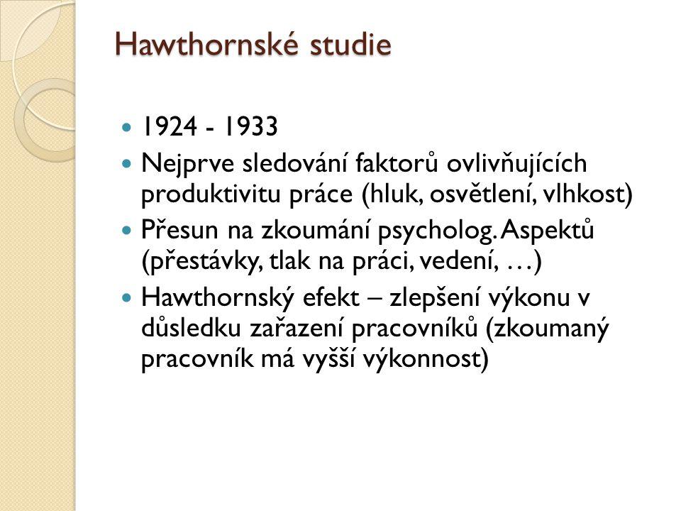 Hawthornské studie 1924 - 1933 Nejprve sledování faktorů ovlivňujících produktivitu práce (hluk, osvětlení, vlhkost) Přesun na zkoumání psycholog. Asp