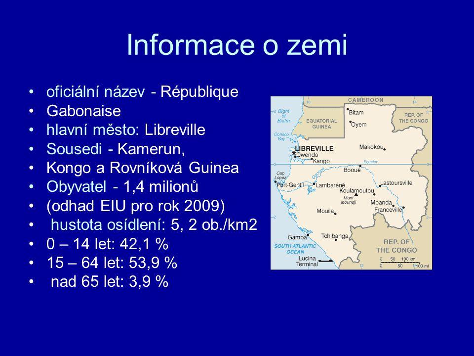 Informace o zemi oficiální název - République Gabonaise hlavní město: Libreville Sousedi - Kamerun, Kongo a Rovníková Guinea Obyvatel - 1,4 milionů (odhad EIU pro rok 2009) hustota osídlení: 5, 2 ob./km2 0 – 14 let: 42,1 % 15 – 64 let: 53,9 % nad 65 let: 3,9 %