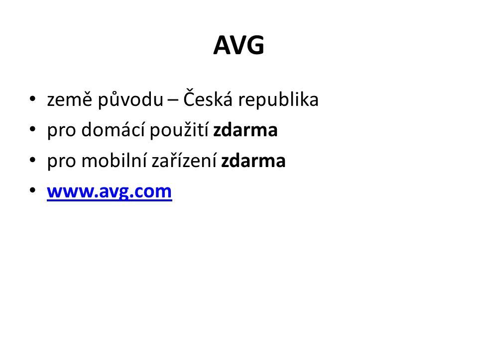 AVG země původu – Česká republika pro domácí použití zdarma pro mobilní zařízení zdarma www.avg.com