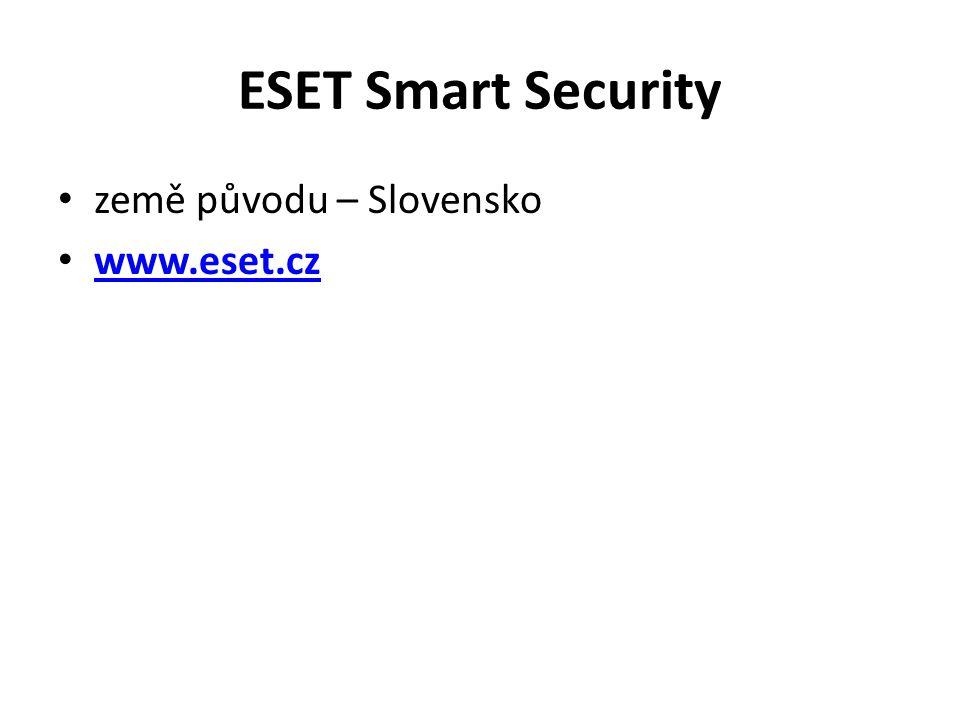 ESET Smart Security země původu – Slovensko www.eset.cz