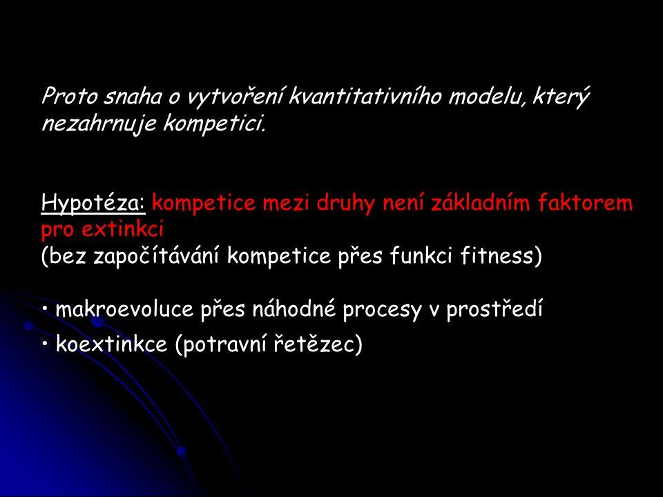 Hypotéza: kompetice mezi druhy není základním faktorem pro extinkci (bez započítávání kompetice přes funkci fitness) makroevoluce přes náhodné procesy v prostředí koextinkce (potravní řetězec)