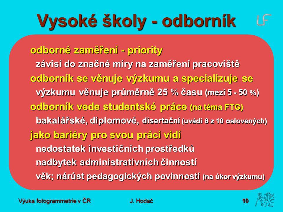 Výuka fotogrammetrie v ČR J. Hodač 10 Vysoké školy - odborník odborné zaměření - priority závisí do značné míry na zaměření pracoviště odborník se věn