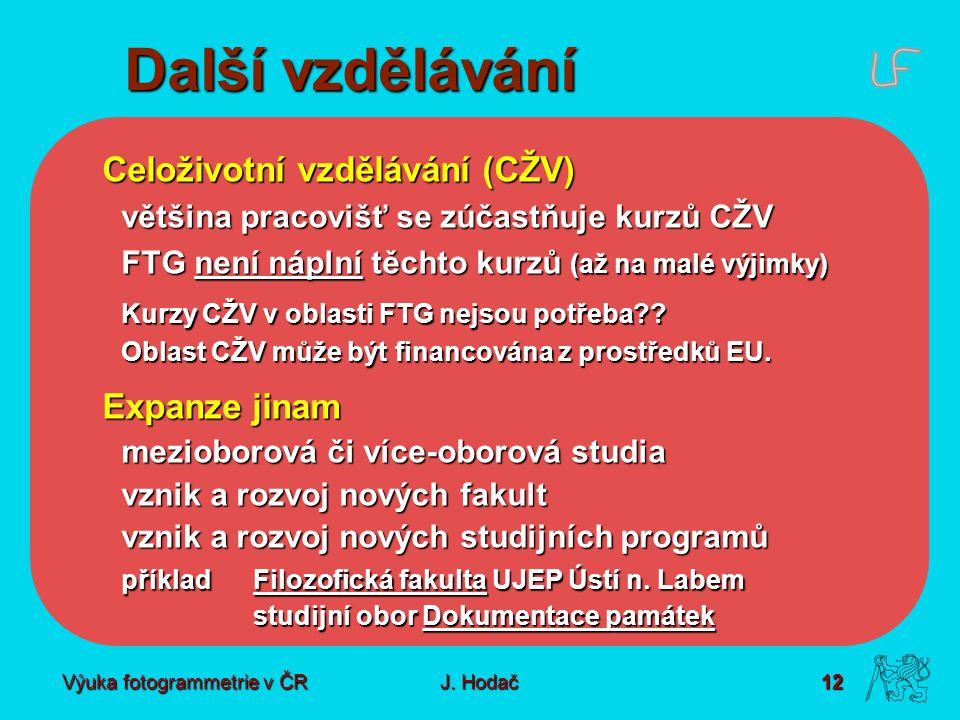 Výuka fotogrammetrie v ČR J. Hodač 12 Další vzdělávání Celoživotní vzdělávání (CŽV) většina pracovišť se zúčastňuje kurzů CŽV FTG není náplní těchto k
