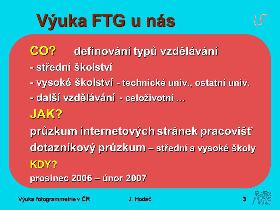 Výuka fotogrammetrie v ČR J. Hodač 3 Výuka FTG u nás CO? definování typů vzdělávání - střední školství - vysoké školství - technické univ., ostatní un