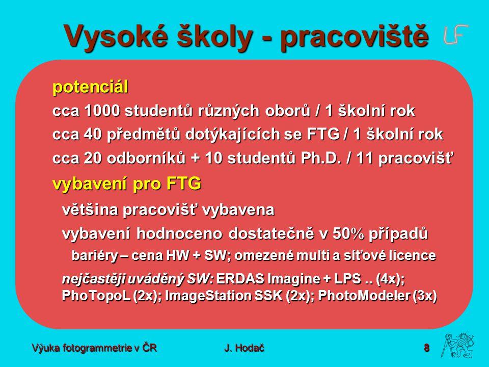 Výuka fotogrammetrie v ČR J. Hodač 8 Vysoké školy - pracoviště potenciál cca 1000 studentů různých oborů / 1 školní rok cca 40 předmětů dotýkajících s
