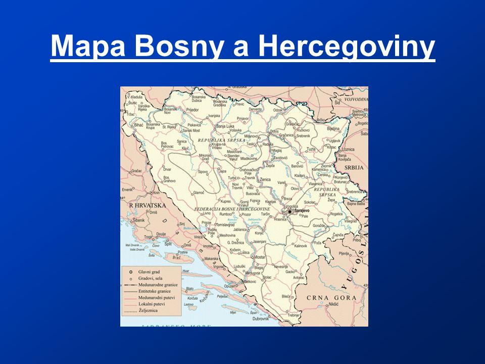 Mapa Bosny a Hercegoviny