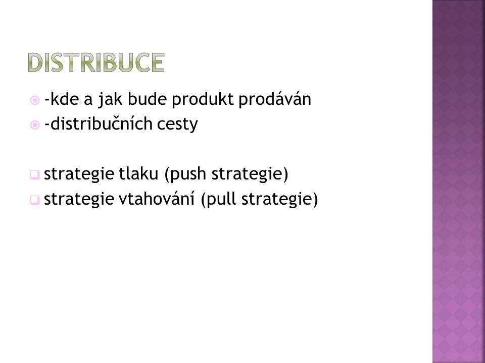  -kde a jak bude produkt prodáván  -distribučních cesty  strategie tlaku (push strategie)  strategie vtahování (pull strategie)
