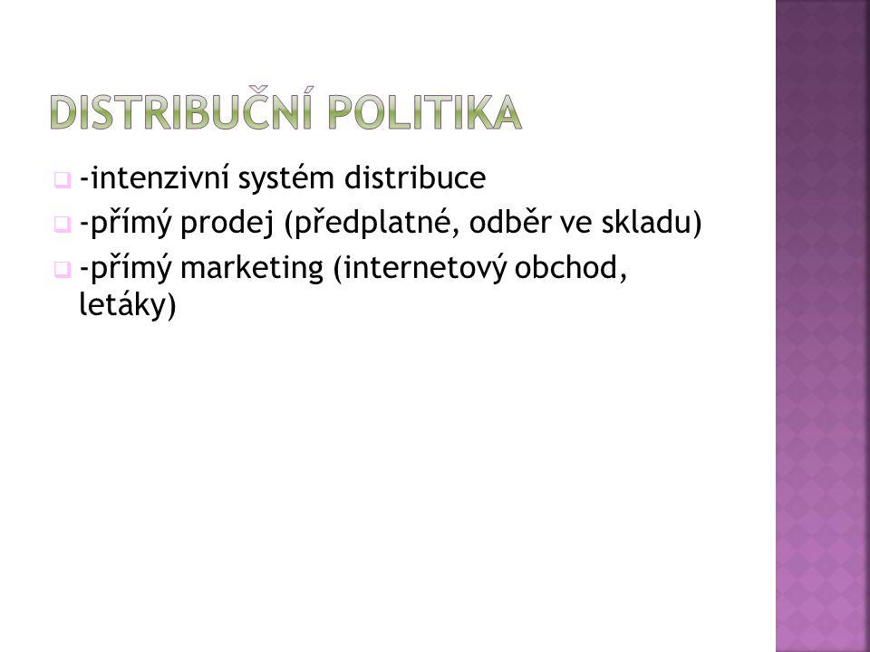  -intenzivní systém distribuce  -přímý prodej (předplatné, odběr ve skladu)  -přímý marketing (internetový obchod, letáky)