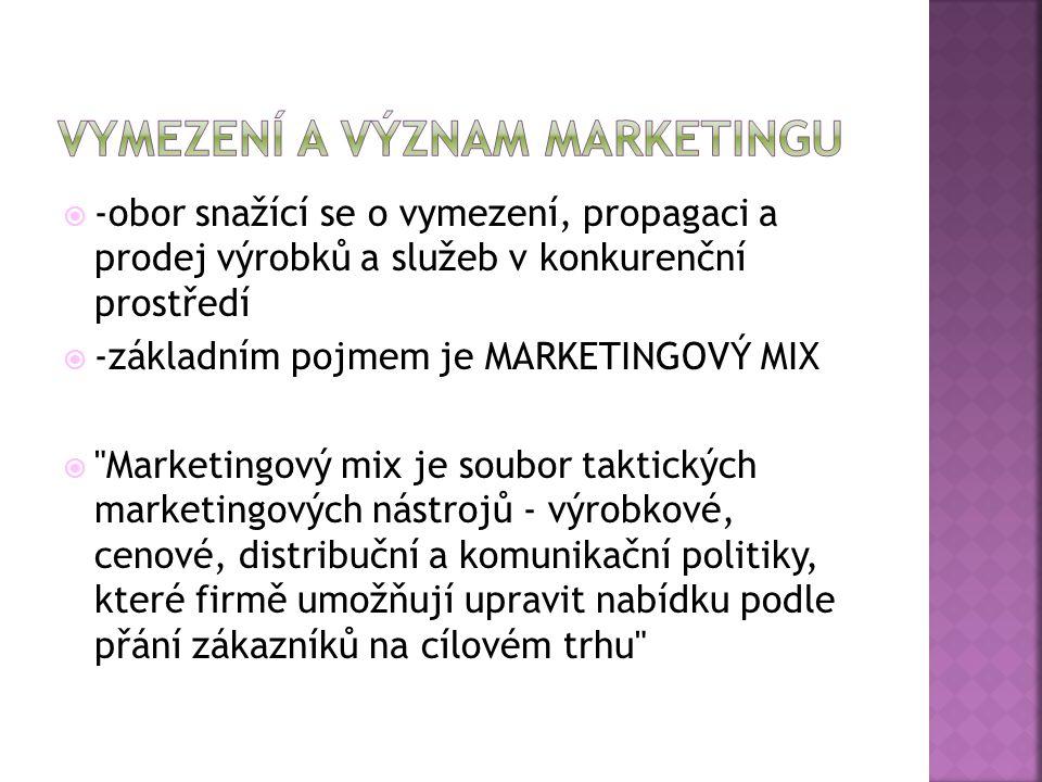  -obor snažící se o vymezení, propagaci a prodej výrobků a služeb v konkurenční prostředí  -základním pojmem je MARKETINGOVÝ MIX  Marketingový mix je soubor taktických marketingových nástrojů - výrobkové, cenové, distribuční a komunikační politiky, které firmě umožňují upravit nabídku podle přání zákazníků na cílovém trhu