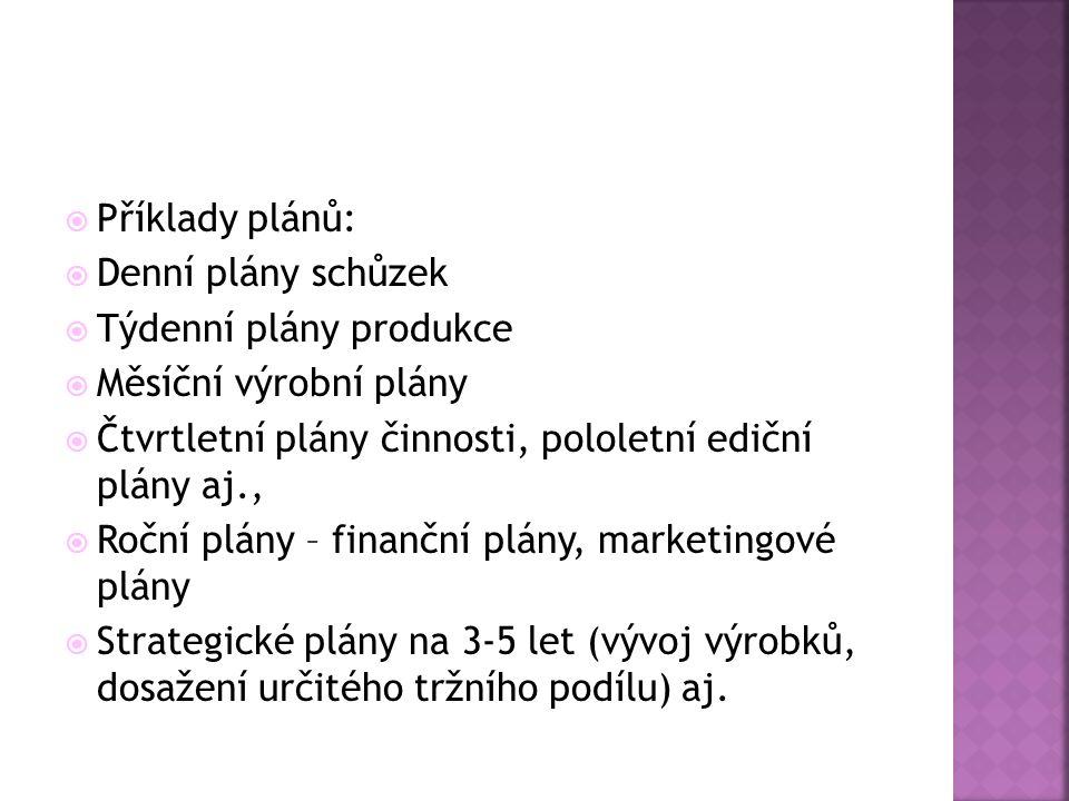  Příklady plánů:  Denní plány schůzek  Týdenní plány produkce  Měsíční výrobní plány  Čtvrtletní plány činnosti, pololetní ediční plány aj.,  Roční plány – finanční plány, marketingové plány  Strategické plány na 3-5 let (vývoj výrobků, dosažení určitého tržního podílu) aj.
