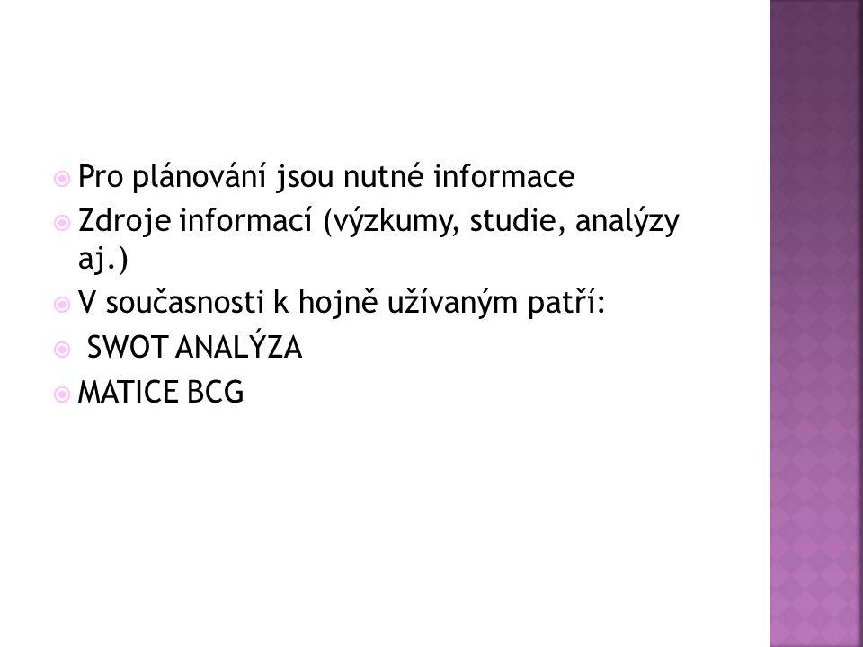  Pro plánování jsou nutné informace  Zdroje informací (výzkumy, studie, analýzy aj.)  V současnosti k hojně užívaným patří:  SWOT ANALÝZA  MATICE BCG