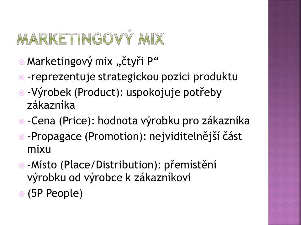 """ Marketingový mix """"čtyři P  -reprezentuje strategickou pozici produktu  -Výrobek (Product): uspokojuje potřeby zákazníka  -Cena (Price): hodnota výrobku pro zákazníka  -Propagace (Promotion): nejviditelnější část mixu  -Místo (Place/Distribution): přemístění výrobku od výrobce k zákazníkovi  (5P People)"""